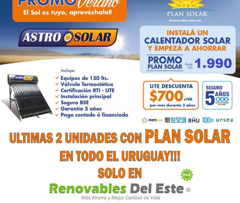Últimas 2 unidades con PLAN SOLAR en todo el Uruguay!